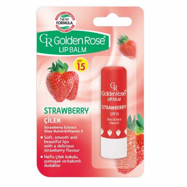balzam za ustnice lip balm golden rose strawberry